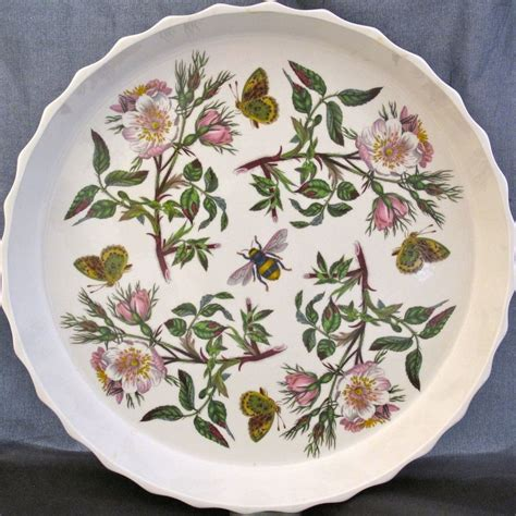 portmeirion botanic garden tart serving dish pink flowers