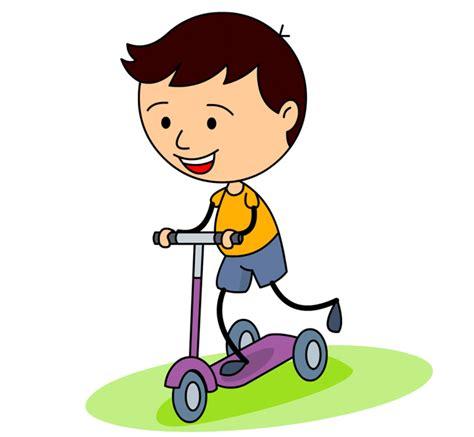 free childrens clipart children kid a three wheel scooter clipart