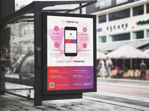 app poster bus stop billboard  rounded hexagon