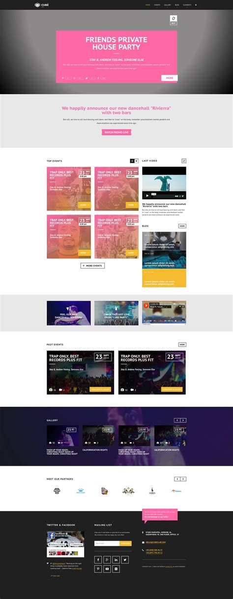 theme blog pink club cube v 2 responsive html5 theme for night club by