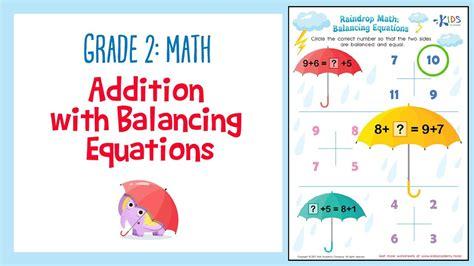 addition worksheet balancing equations  grade math