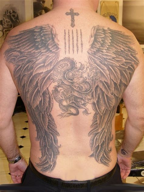 angel wing tattoos for men large wings and cross on back