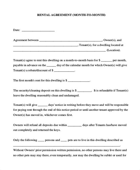 9 Sle Room Agreement Forms Sle Exle Format Cottage Rental Agreement Template