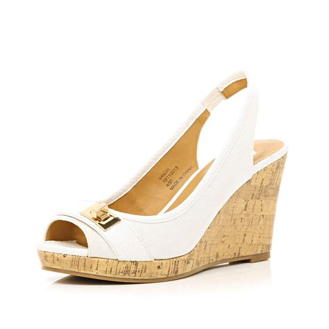 river island white sling back canvas wedges in beige