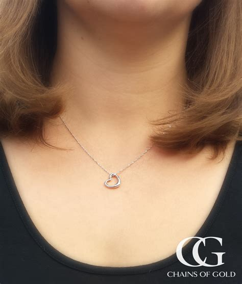 Floating Heart Necklace in Solid 9ct White Yellow or Rose Gold