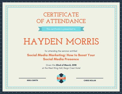 certificate of attendance seminar template image