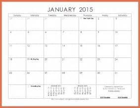 2015 Printable Calendar Template by Printable Monthly Calendar 2015 Bio Exle