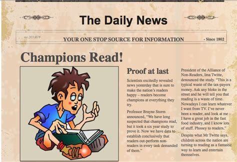 how to write a newspaper article for kids template the book chook activities for children s book week 2012