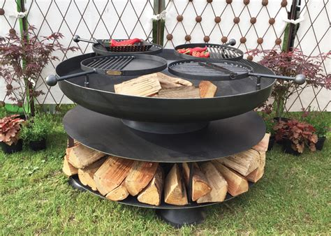 swing bbq fire pit ring of logs 120