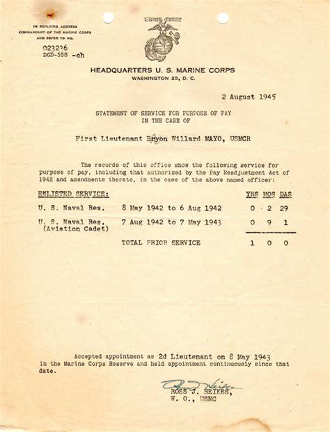 Statement Of Service Letter Usmc Usmc Statement Of Service Letter
