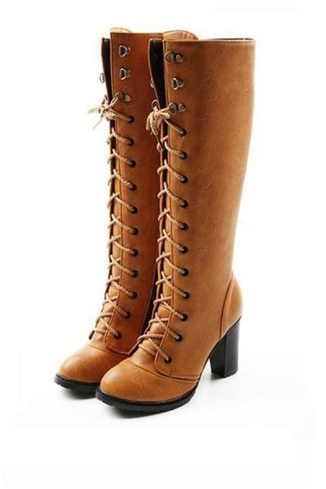 light brown boots light brown faux leather lace up chunky heel boots 014857