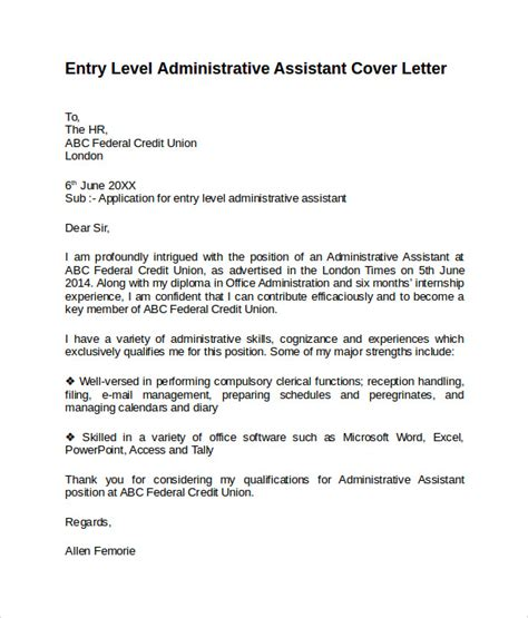 Cover Letter For Beginner Administrative Assistant Entry Level Cover Letter Templates 9 Free Sles