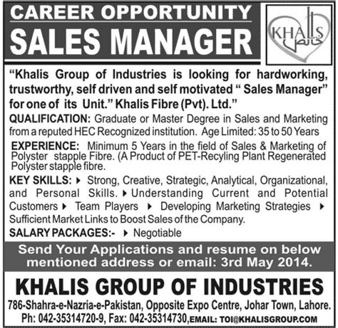 Sample Resume For Zonal Sales Manager by Sales Manager Advertisement Khafre
