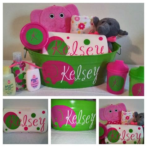 Monogrammed Baby Shower Gifts by Personalized Baby Gift Basket For Baby Shower
