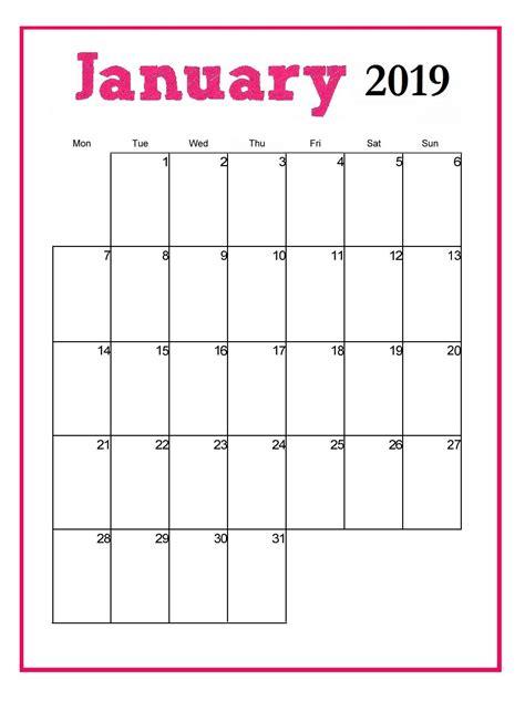printable january  vertical calendar monthly calendar template calendar printables