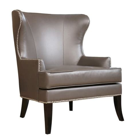 Nailhead Accent Chair Abbyson Living Vienna Leather Nailhead Accent Chair In Gray Br 2571204 Gry