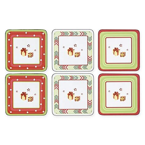 bed bath and beyond coasters pimpernel christmas coasters set of 6 bed bath beyond