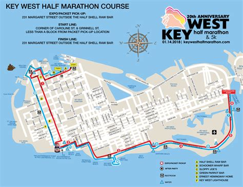 printable map key west key west half marathon 5k course map key west half