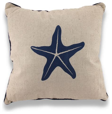 Nautical Toss Pillows by Starfish Nautical Throw Pillow Blue Rope Trim