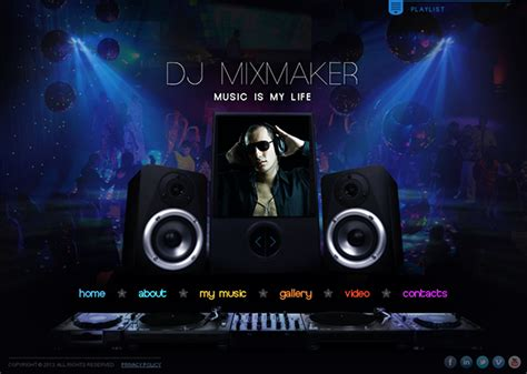 dj mix maker music is my life html5 template on behance