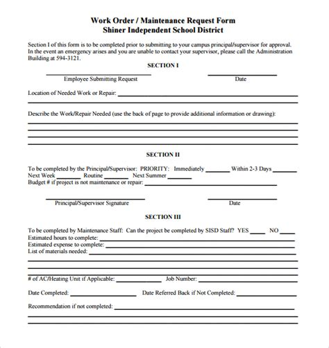 sle maintenance work order form 5 free documents in pdf