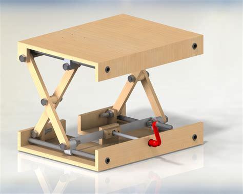 scissor lifting table solidworks 3d cad model grabcad