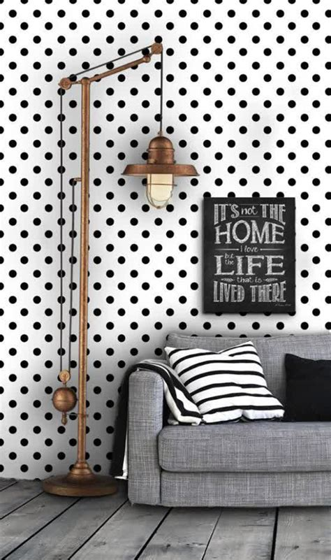 black  white polka dot wallpaper