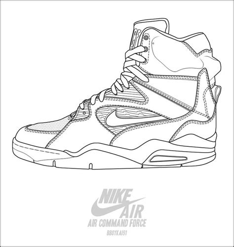 basketball sneakers coloring page nike air command force basketball shoes coloring pages