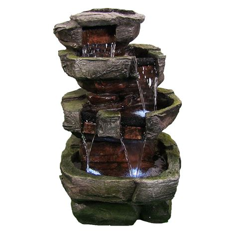 Lighted Outdoor Water Fountains Outdoor Water 2 Tier Design 2 Led Light By Sunnydaze Decor