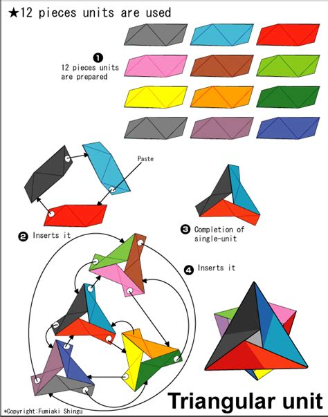 Unit Origami - origami triangular unit easy origami