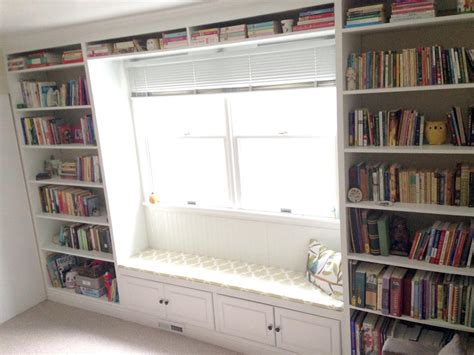 constructing a built in bookshelf with a window seat