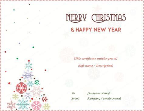 tree gift card template gift certificate templates editable and