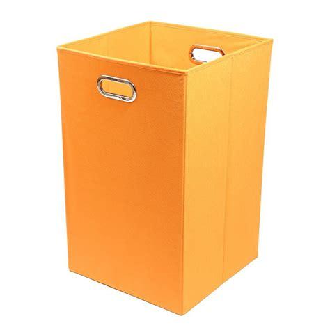 Modern Littles Bold Solid Orange Folding Laundry Basket Foldable Laundry