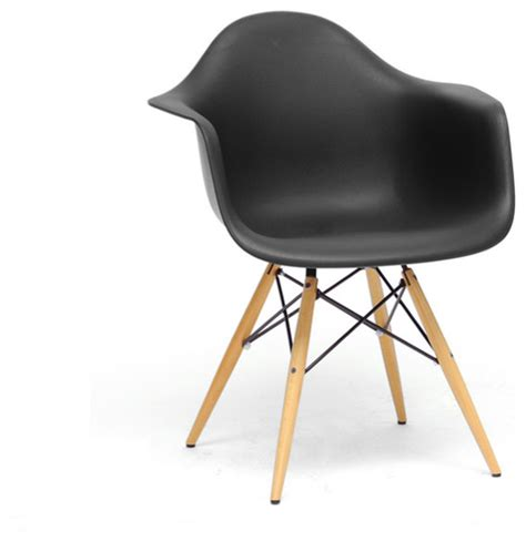 Mid Century Modern Plastic Chairs by Baxton Studio Pascal Black Plastic Mid Century Modern