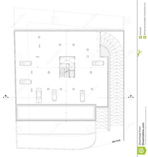 4 Car Garage Plans plan de stationnement architectural photo stock image