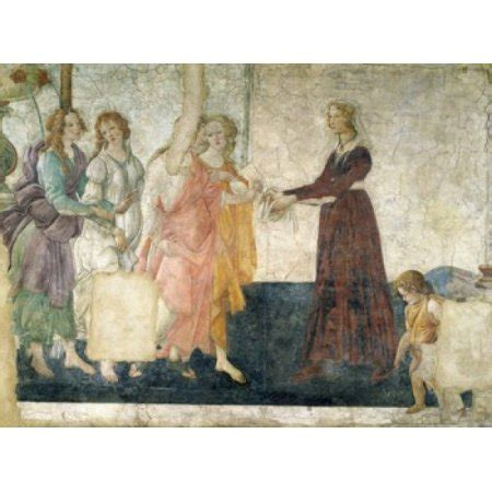 fresco young women receives gifts from venus and the three graces