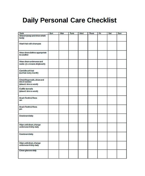 Daily Caregiver Notes New Free Daily Checklist Template And Its Purposes Daily Checklist Www Daily Caregiver Notes Template