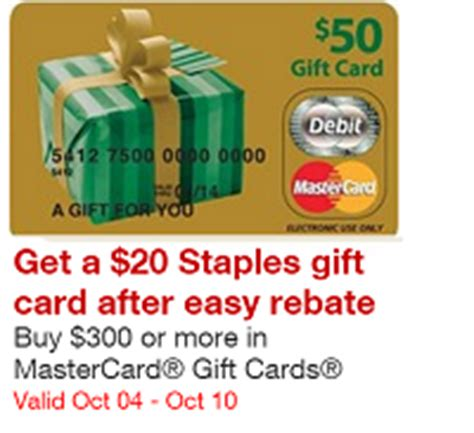 300 Mastercard Gift Card - free 20 staples gift card bonus with 300 mastercard prepaid purchase