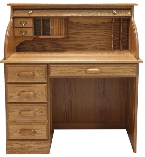 solid oak roll top desk 42 quot w solid oak single pedestal roll top desk