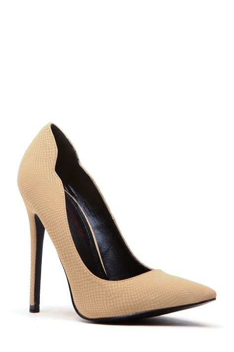 camel colored high heels camel faux nubuck pointed toe scalloped classic pumps