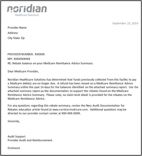 Reimbursement Credit Letter Rebate Summary Letters Noridian
