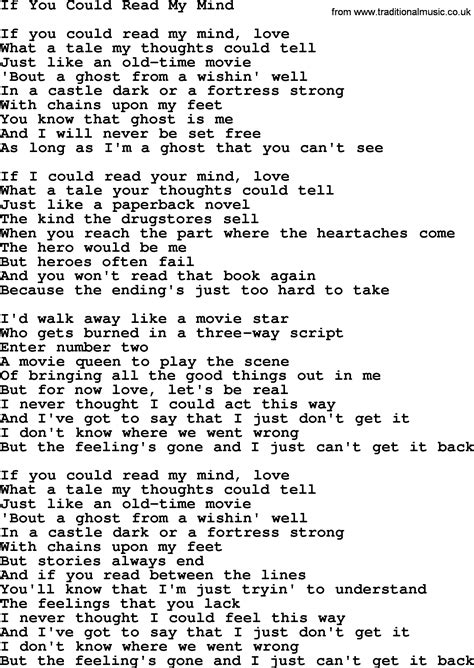 If You Could Read My Mind, by Gordon Lightfoot, Lyrics