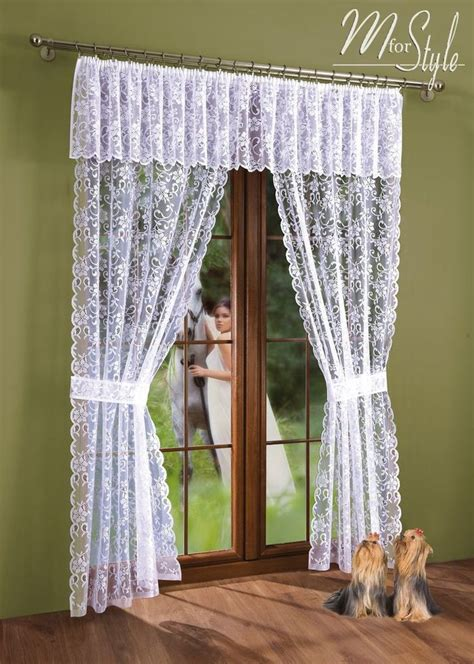 Curtains With Pelmet Attached Net Lace Curtain Window Door Set White With Pelmet Valance And Tiebacks Ebay