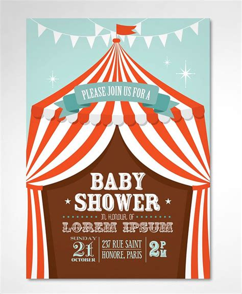 Circus Tent Template Card by 33 Baby Shower Invitation Templates Free Premium