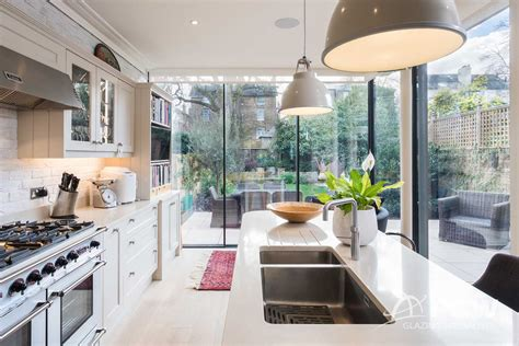 pcw opens  corner  victorian kitchen extension  slim sliding doors