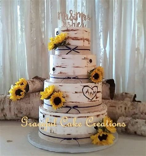 Rustic Birch Bark Wedding Cake accented with Burlap and La
