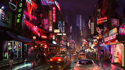 wallpaper night artwork futuristic city cyberpunk