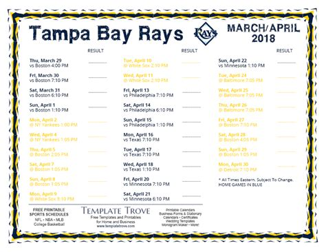 Ta Bay Rays 2018 Printable Schedule