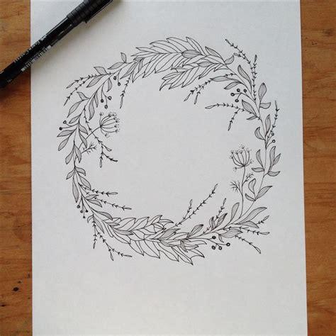 pen ink wreath drawing illustration pinterest