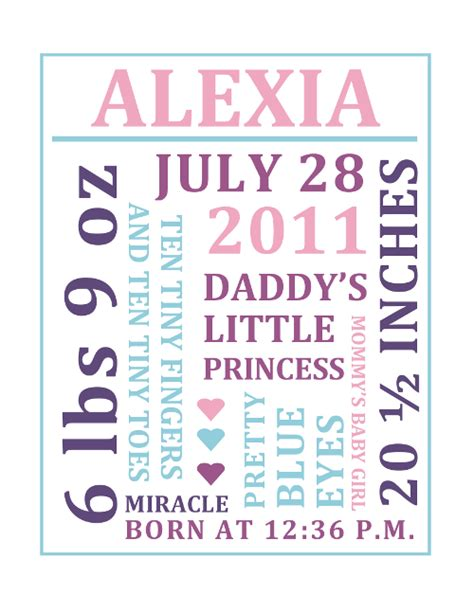 free word collage baby birth announcement